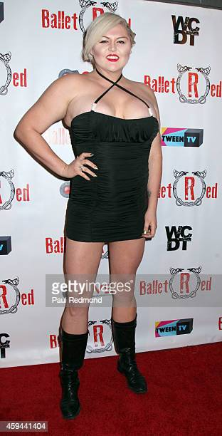 World's tallest actress Lindsay Kay Hayward arrives at 'Ballet RED' one night only show at The Broad Stage on November 22 2014 in Santa Monica...