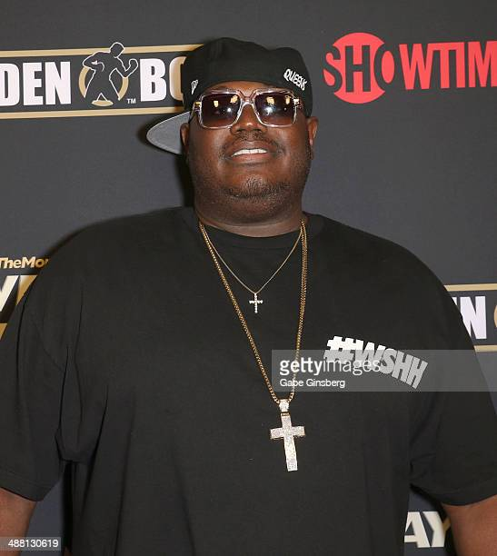 Worldstar Hip Hop CEO Lee 'Q' O'Denat arrives at the prefight party for 'The Moment Mayweather vs Maidana' at the MGM Grand Garden Arena on May 3...