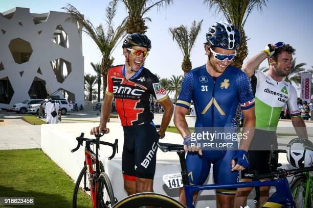 UCI WorldTeam BMC Racing Team's Belgian rider Greg Van Avermaet Aqua BlueSport's Adam Blythe of Great Britain and his compatriot Mark Cavendish of...