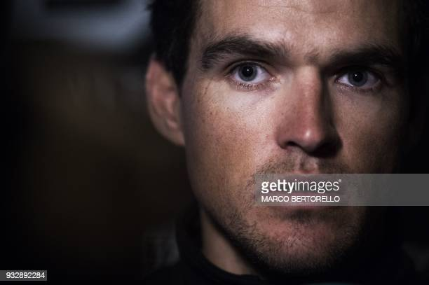 UCI WorldTeam BMC Racing Team's Belgian rider Greg Van Avermaet gives a press conference on the eve of the 109th edition of the MilanSan Remo cycling...