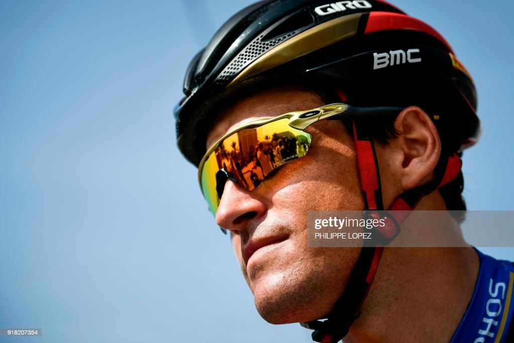 UCI WorldTeam BMC Racing Team's Belgian rider Greg Van Avermaet looks on before the the second stage of the 2018 cycling Tour of Oman, from Sultan Qaboos University to Al-Bustan, west of the capital Muscat on February 14, 2018. / AFP PHOTO / Philippe LOPEZ
