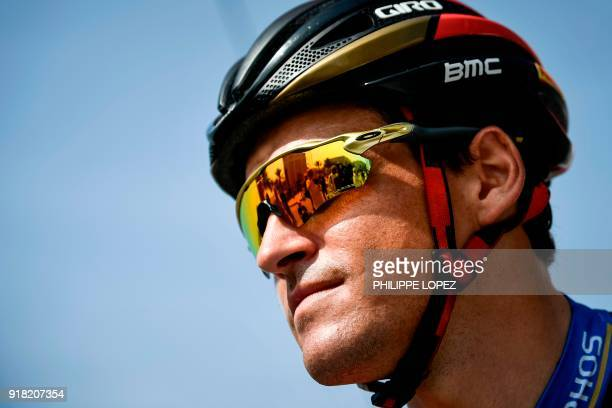 UCI WorldTeam BMC Racing Team's Belgian rider Greg Van Avermaet looks on before the the second stage of the 2018 cycling Tour of Oman from Sultan...
