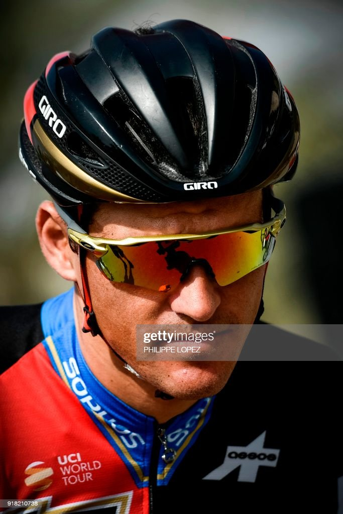 UCI WorldTeam BMC Racing Team's Belgian rider Greg Van Avermaet looks on before the second stage of the 2018 cycling Tour of Oman, from Sultan Qaboos University to Al-Bustan, west of the capital Muscat on February 14, 2018. / AFP PHOTO / Philippe LOPEZ