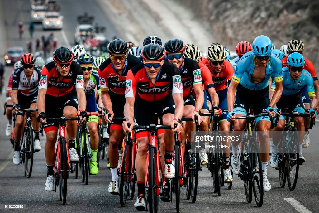 UCI WorldTeam BMC Racing Team's Belgian rider Greg Van Avermaet (C-L) rides with his teammates during the second stage of the 2018 cycling Tour of Oman, from Sultan Qaboos University to Al-Bustan, west of the capital Muscat on February 14, 2018. / AFP PHOTO / Philippe LOPEZ