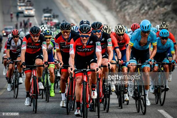 UCI WorldTeam BMC Racing Team's Belgian rider Greg Van Avermaet rides with his teammates during the second stage of the 2018 cycling Tour of Oman...