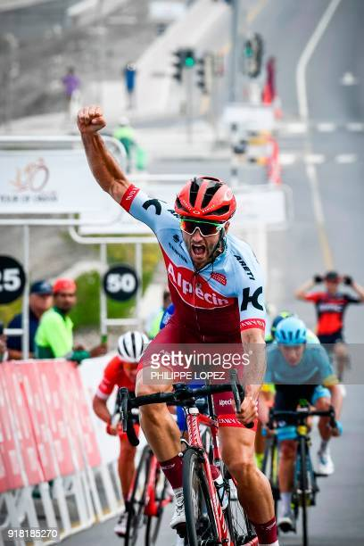 UCI WorldTeam Team KatushaAlpecin's Australian rider Nathan Hass reacts as he crosses the finish line to win the second stage of the 2018 cycling...