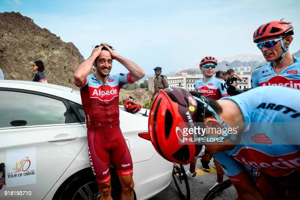 UCI WorldTeam Team KatushaAlpecin's Australian rider Nathan Hass reacts after winning the second stage of the 2018 cycling Tour of Oman from Sultan...
