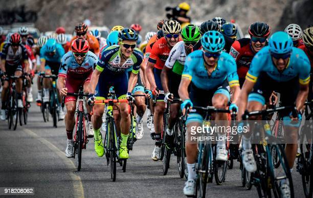 UCI WorldTeam Team KatushaAlpecin's Australian rider Nathan Hass rides before winning the second stage of the 2018 cycling Tour of Oman from Sultan...