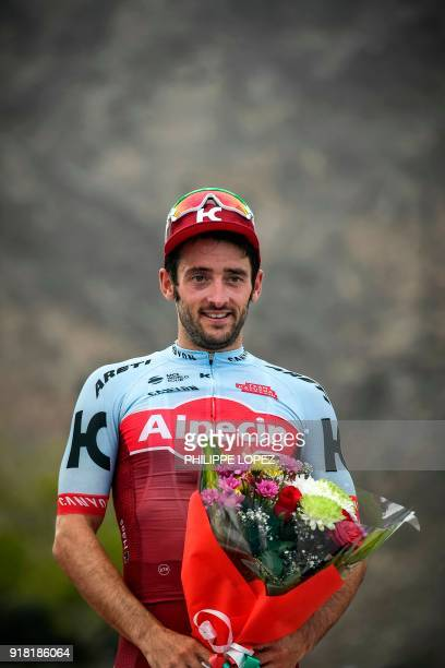 UCI WorldTeam Team KatushaAlpecin's Australian rider Nathan Hass stands on the podium after winning the second stage of the 2018 cycling Tour of Oman...