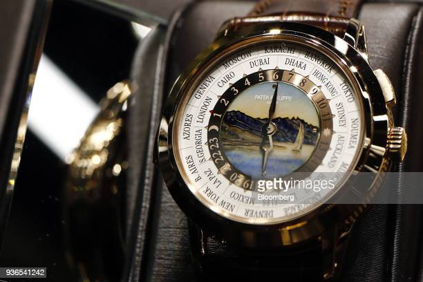 WorldTime Minute Repeater luxury wristwatch produced by Patek Philippe SA stands on display during day two of the 2018 Baselworld luxury watch and...