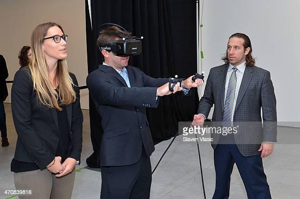 Worldviz LLC's Sarah Stumbo and Stanford Virtual Human Interaction Lab Founder Jeremy Bailenson attend Stanford University's Virtual Human...