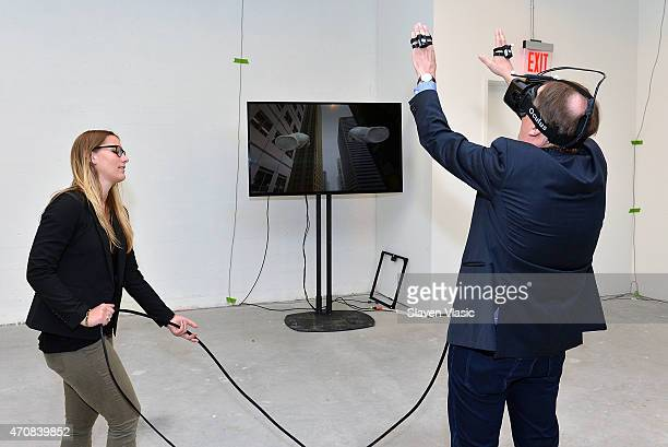 Worldviz LLC's Sarah Stumbo attends Stanford University's Virtual Human Interaction Lab Experience during the 2015 Tribeca Film Festival at Spring...