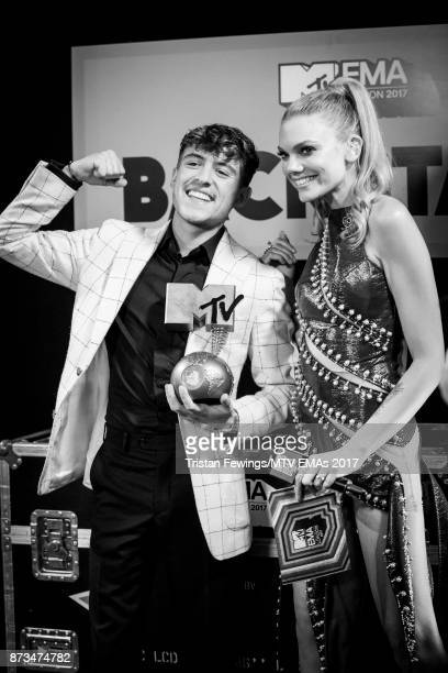 Worldwide Act award winner Lil' Kleine and Becca Dudley are seen backstage at the MTV EMAs 2017 held at The SSE Arena Wembley on November 12 2017 in...