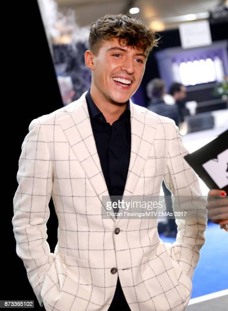 Worldwide Act award winner Lil' Kleine appears backstage during the MTV EMAs 2017 held at The SSE Arena Wembley on November 12 2017 in London England