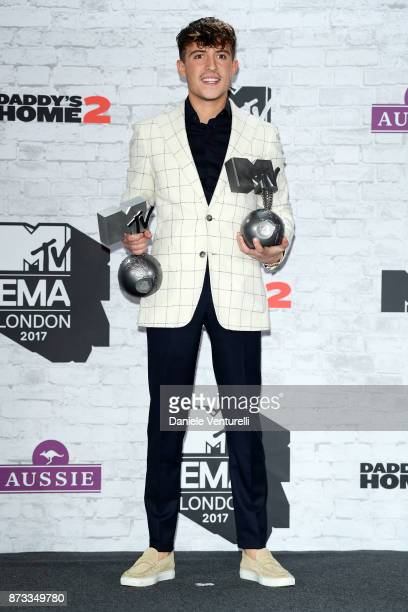 Worldwide Act award winner Lil' Kleine poses in the winner's room during the MTV EMAs 2017 held at The SSE Arena Wembley on November 12 2017 in...
