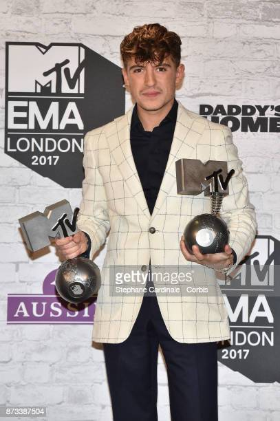 Worldwide Act award winner Lil' Kleine poses in the Winners Room during the MTV EMAs 2017 held at The SSE Arena Wembley on November 12 2017 in London...