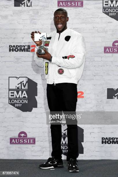 Worldwide Act award winner Stormzy poses in the winner's room during the MTV EMAs 2017 held at The SSE Arena Wembley on November 12 2017 in London...