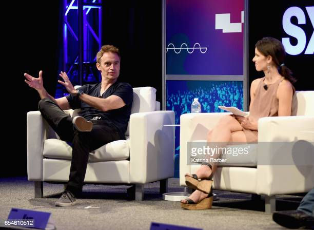Worldwide Digital Music of Amazon Steve Boom and Hannah Karp of The Wall Street Journal speak onstage at 'A Conversation With Garth Brooks and Steve...
