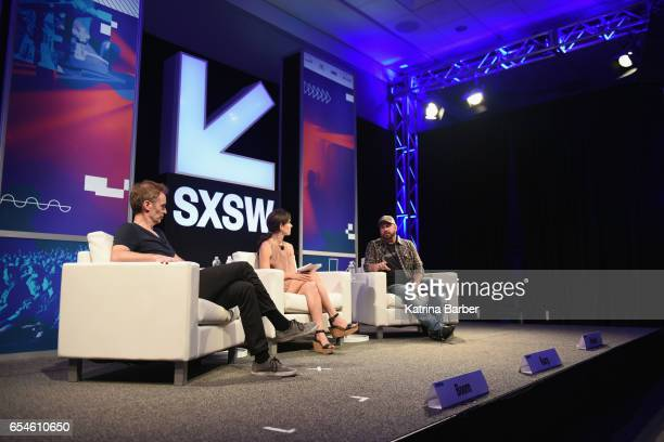 Worldwide Digital Music of Amazon Steve Boom, Hannah Karp of The Wall Street Journal and recording artist Garth Brooks speak onstage at 'A...