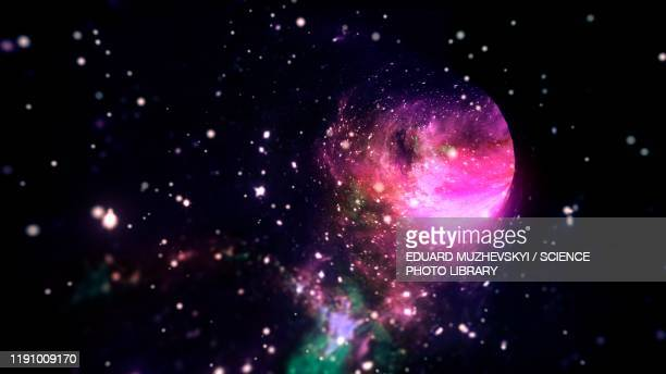 wormhole, conceptual illustration - black hole stock pictures, royalty-free photos & images
