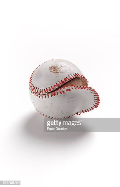 Worn baseball with copy space