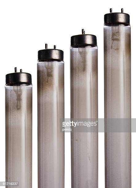 Worn out used fluorescent bulbs