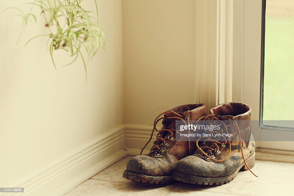Worn work boots : Stock Photo