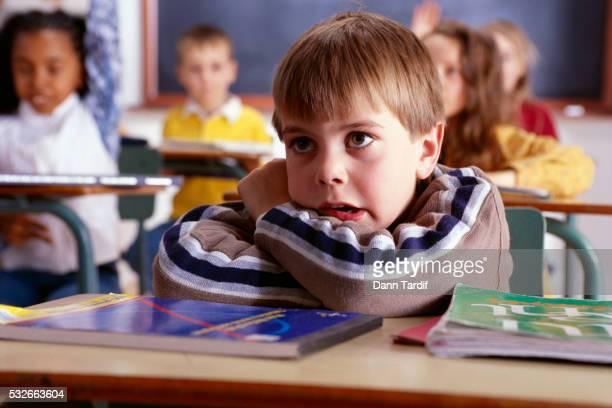 Worried Boy in First Grade