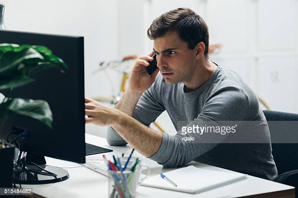 worried businessman in office. - fear stock pictures, royalty-free photos & images
