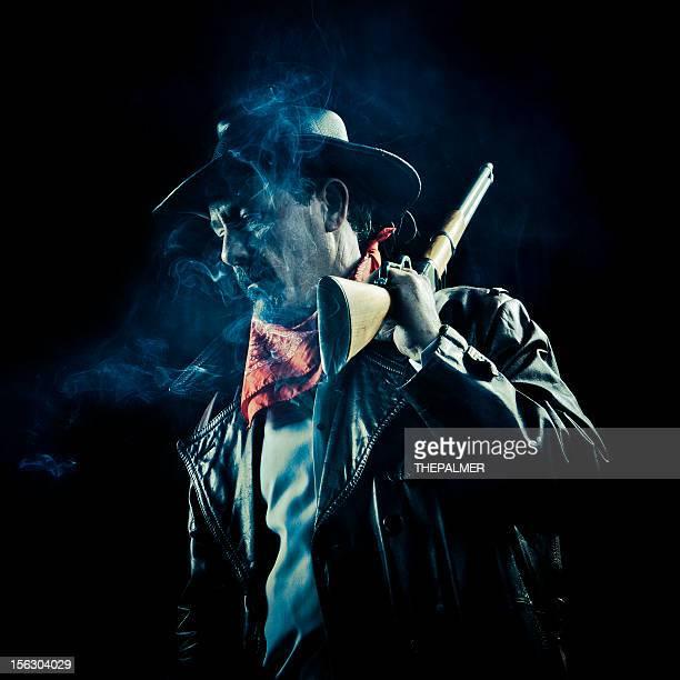 worried cowboy smoking