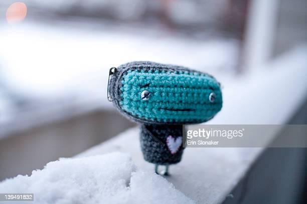 Worried crocheted robot