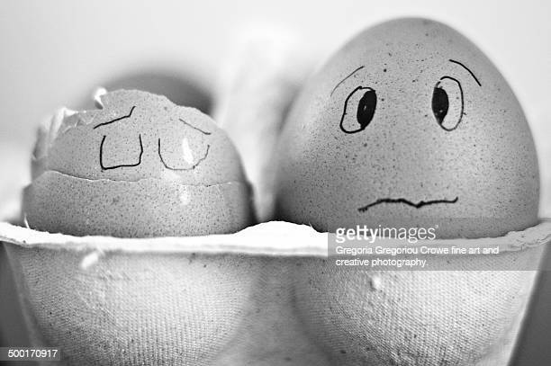 worried looking egg - gregoria gregoriou crowe fine art and creative photography. fotografías e imágenes de stock