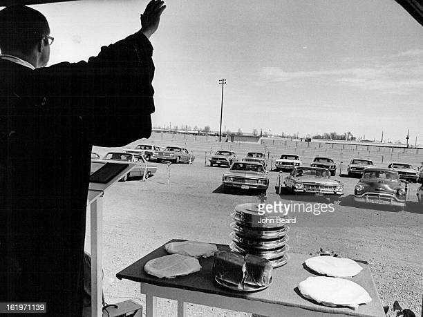APR 1971 APR 22 1971 APR 24 1971 Worship GodFrom Your Car The Rev Paul Lupkes says blessing over his congregation at North DriveIn Theatre W 72nd Ave...