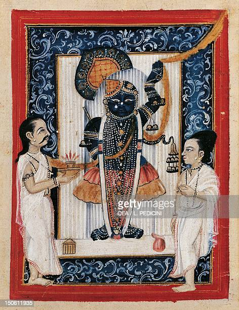 Worship of the god Hanuman watercolour and gold on ivory paper 185 x 144 cm India Indian Civilisation 18th century