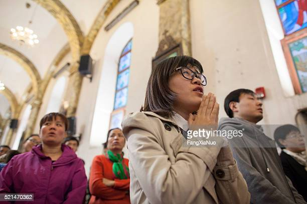 worshiper at cathedral of the immaculate conception - christendom stockfoto's en -beelden