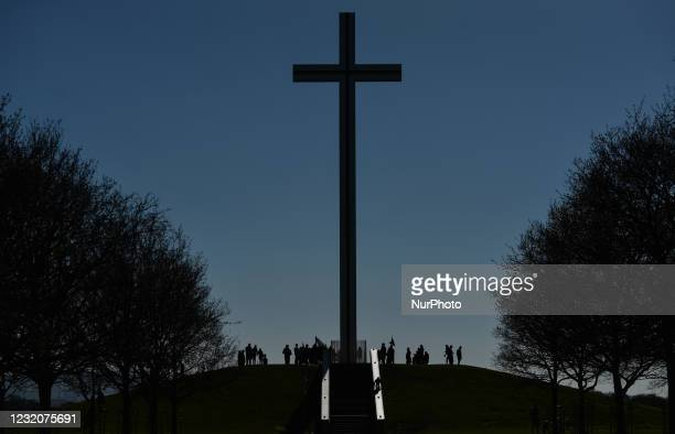 Worshipers during a Solemn Procession on Good Friday 2021 at the 'Papal Cross' in Dublin's Phoenix Park, during level 5 COVID-19 lockdown. On Friday,...