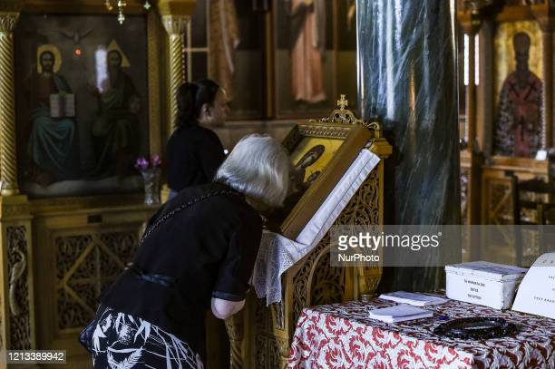 Worshipper during the reopening of Religious places of worship open to faithful under specific rules in Athens, Greece, on May 17, 2020. The maximum...
