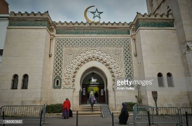Worshippers arrive at The Grand Mosque in Paris on October 30, 2020 in Paris, France. The prayers took place under increased security as President...