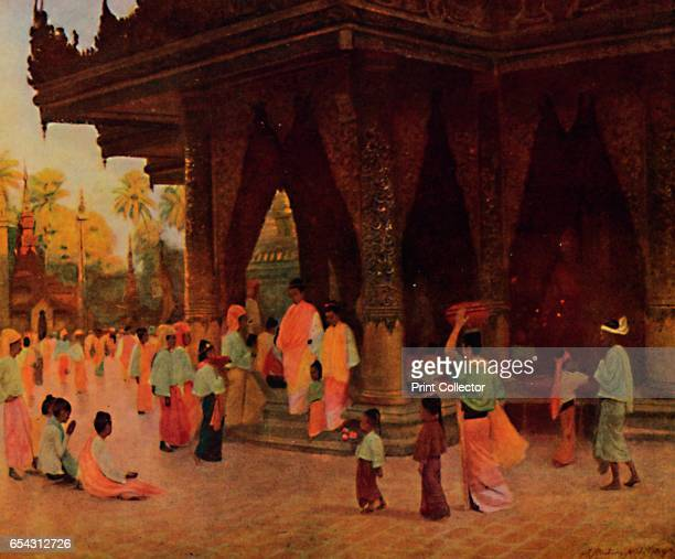 Worshippers at a Shrine of Gautama 1913 From The Gorgeous East by Frank Elias [Adam and Charles Black London 1913] Artist James Raeburn Middleton