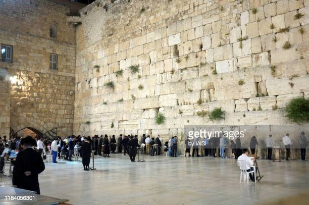 worshippers at the western / wailing wall, at night, the men's side - 嘆きの壁 ストックフォトと画像