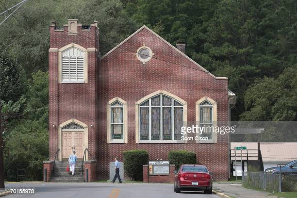 Worshippers attend Sunday morning service at the Cumberland United Methodist Church on August 25 2019 in Cumberland Kentucky Cumberland in Harlan...
