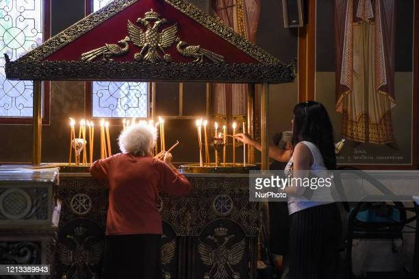 Worshipper's during the reopening of Religious places of worship open to faithful under specific rules in Athens, Greece, on May 17, 2020. The...