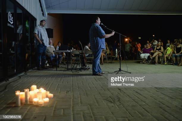 Worshippers gather during a evening candlelight prayer vigil at Life Christian Center Church on July 20 2018 in Branson Missouri Hundreds of Branson...