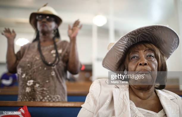 Worshippers gather during Sunday services which honored Aretha Franklin at the New Temple Missionary Baptist Church in South LA on August 19 2018 in...