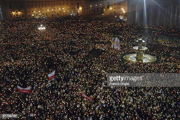 Worshippers gather in St Peter's Square to celebrate the first anniversary of the death of Pope John Paul II with the Recitation of the Rosary...
