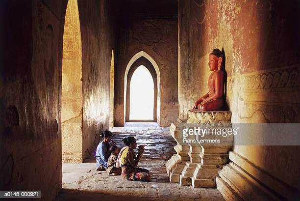 Worshippers in Buddhist Temple