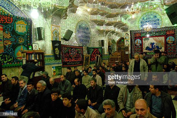Worshippers pray at the shrine of Zaid ibn Ali as Iranian Shiite Muslims mark Arbaeen the 40th day after the death of Imam Hussein in 680 AD in the...