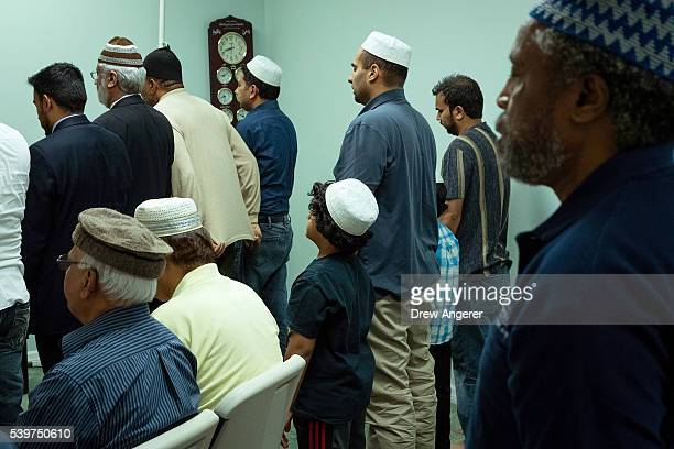 Worshippers pray during a prayer service at the BaitulAafiyatr Mosque June 12 2016 in Orlando Florida The shooting at Pulse Nightclub which killed 50...