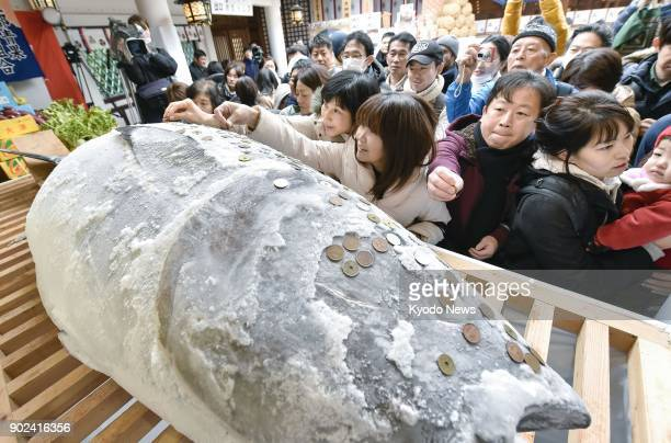 Worshippers pray for good fortune with money, pressing coins into a giant tuna at Nishinomiya Shrine in western Japan on Jan. 8, 2018. ==Kyodo