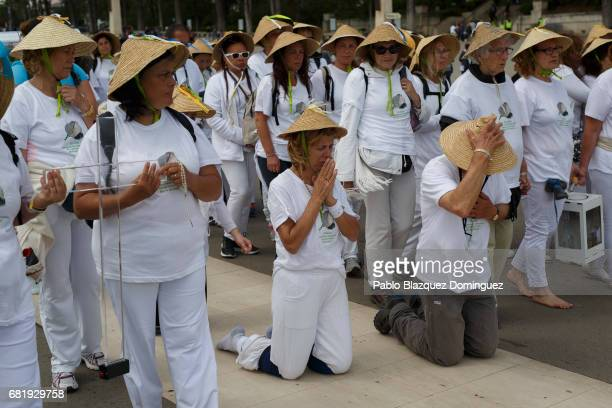 Worshippers walk on their knees in the Sanctuary of Fatima on May 11 2017 in Fatima Portugal Pope Francis will be attending the Sanctuary of Fatima...